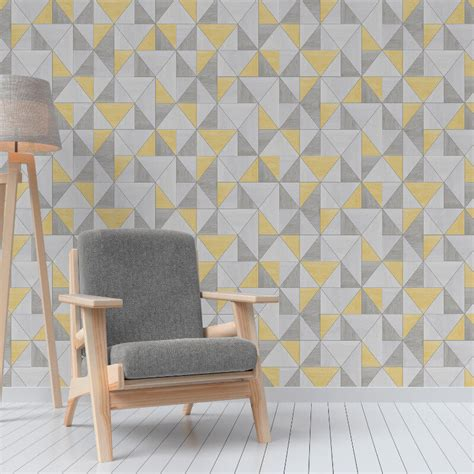 grey yellow wallpaper uk fine decor apex wood grain geo yellow grey wallpaper