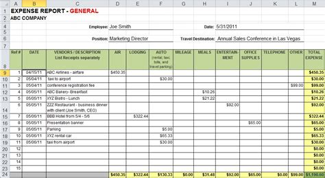 Payroll Expense Report Template Expense Report Template Excel Sanjonmotel