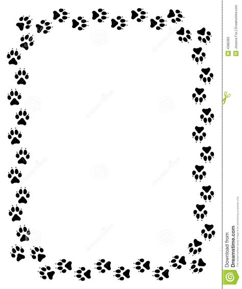 Paw Print Page Border Clip by Wolf Paw Print Border Stock Illustration Illustration Of