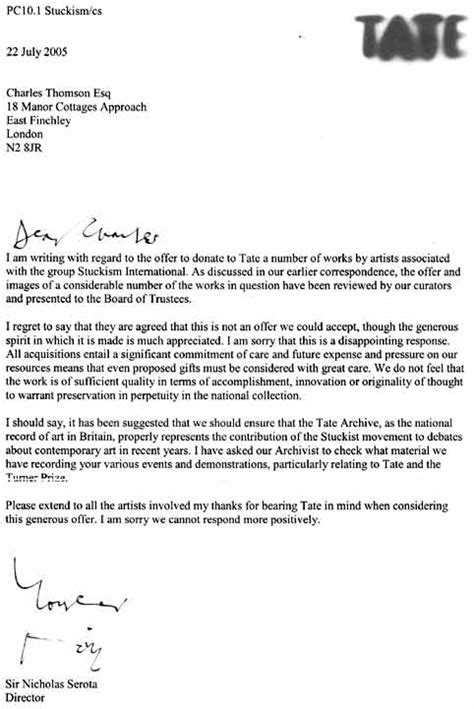 Sponsorship Letter Rejection Tate Modern Rejects Paintings By Stuckists