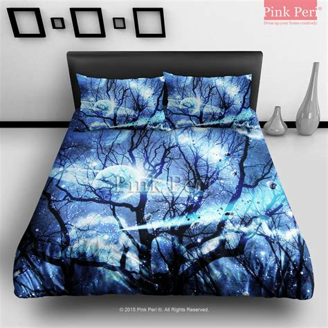 galaxy bedding queen woods silhouette blue nebula galaxy from pink peri