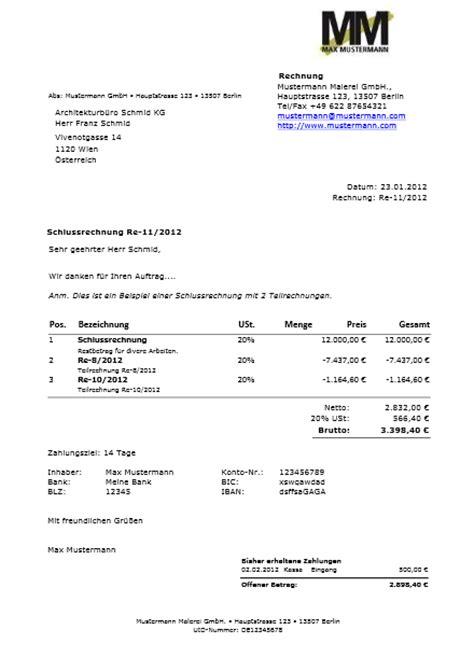 Muster Rechnung Teilzahlung 220 Bersicht Rechnung Und Muster Easyfirma