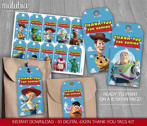 printable toy story christmas gift tags toy story thank you tags toy story thank you favor birthday