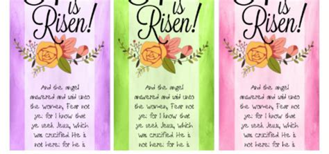 printable religious easter bookmarks free printable scripture he is risen easter bookmarks