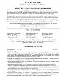 Production Manager Sle Resume by Marketing Production Manager Free Resume Sles Blue Sky Resumes