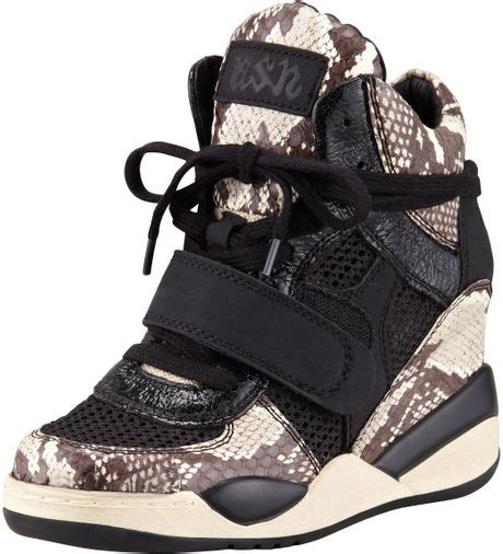 ash funky pythonprint wedge sneaker in black black white
