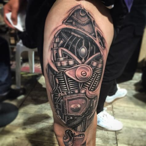 hanoi electric tattoo no stencil no sketching biomechanical tattoo 2014