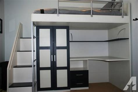contemporary loft bed w built in desk and closet for sale