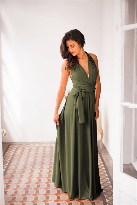 cocktail jurken green olive green infinity dress dark green bridesmaid dress