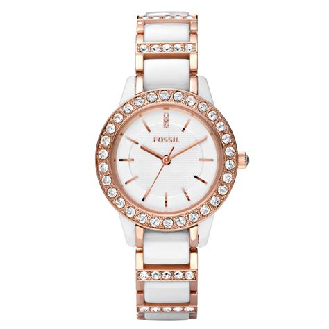Fossil Kulit Rosegold fossil ceramic white band and gold