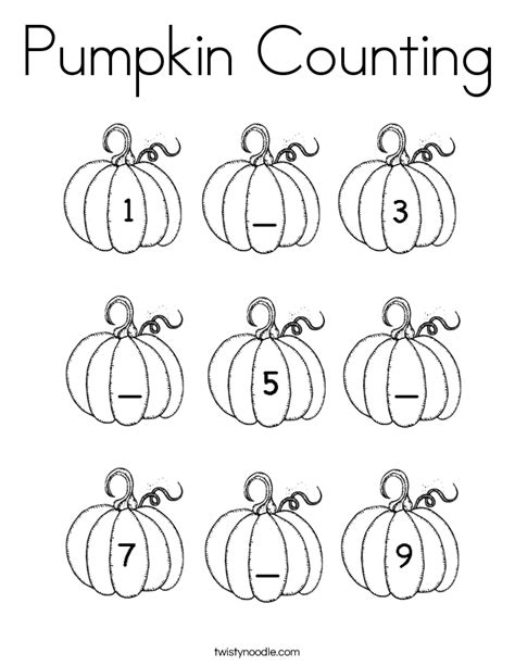 Counting Coloring Pages Pumpkin Counting Coloring Page Twisty Noodle
