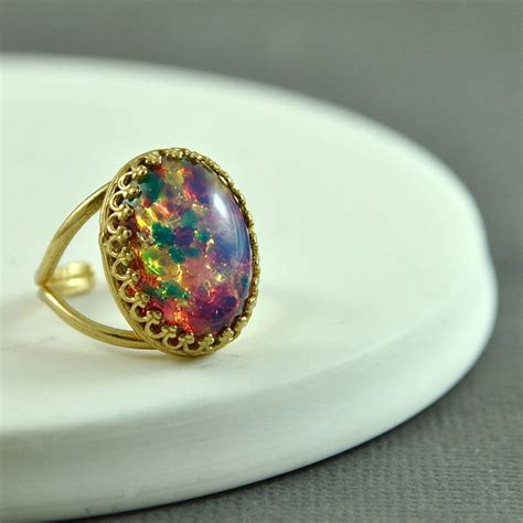 blue opal pink and blue fire opal ring by penny masquerade