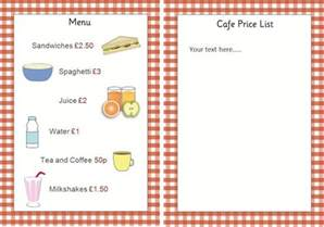menu writing template editable cafe price list menu early years play