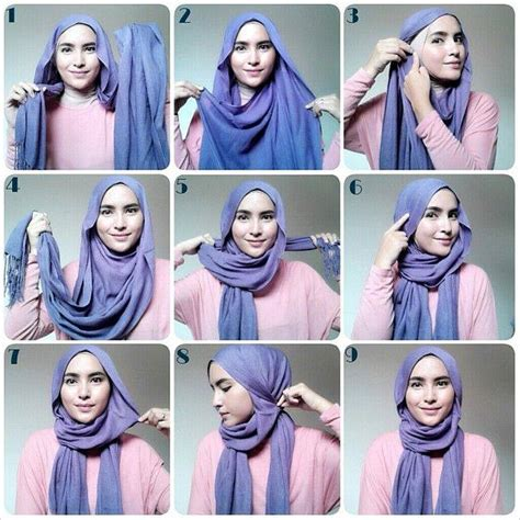 tutorial hijab simple sehari2 easy wrapped hijab tutorial my style pinterest hijab