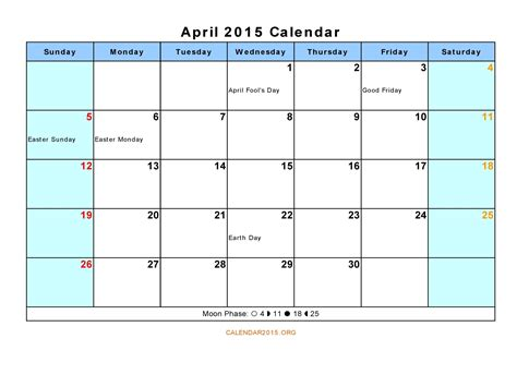 2015 April Calendar Printable 8 Best Images Of April 2015 Calendar Printable Pdf Blank