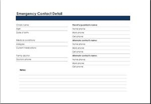 emergency contact list template printable excel emergency contact list template excel
