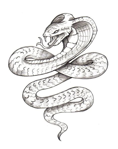 classic black ink cobra snake tattoo design by zaphrozz