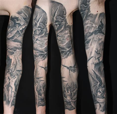 collection of 25 heaven hell half sleeve tattoos