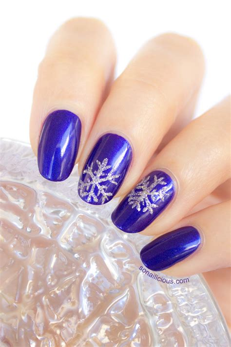 snowflake pattern on nails snowflake nails tutorial