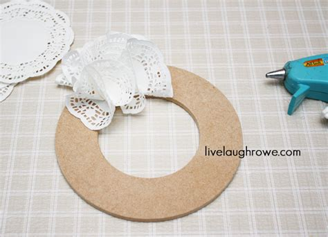 How To Make A Paper Doily - a vignette with paper doily wreath live laugh rowe