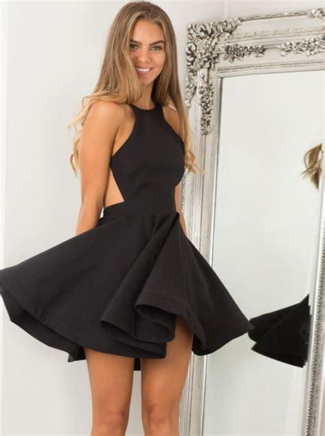 jewel sleeveless backless short black satin