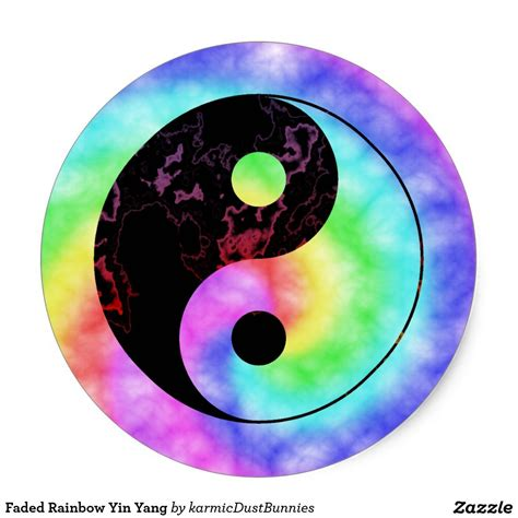 which color is yin faded rainbow yin yang classic sticker zazzle