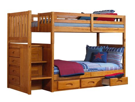 Discovery World Furniture Twin Over Twin Honey Mission Beds For