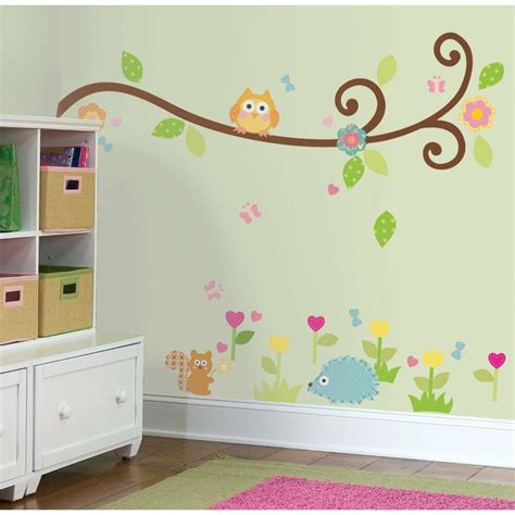 room stickers scroll branch 65 big wall stickers tree flowers animal room decor decals nursery ebay