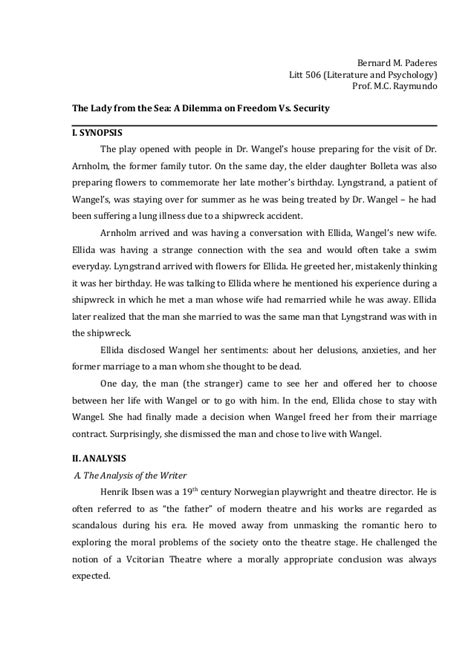 Essay About Literature by Litt 507 Psychological Analysis Of Ibsen S The From The Sea