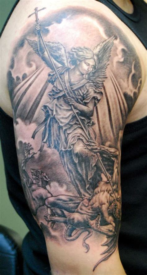 st michael sleeve tattoo designs archangel st michael design of tattoos design of