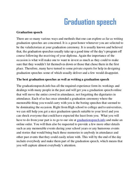 Sle Of A Valedictory Speech graduation essays high school