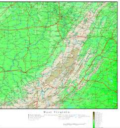 West Virginia On Map by West Virginia Elevation Map
