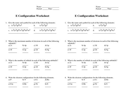 Quantum Numbers Practice Worksheet