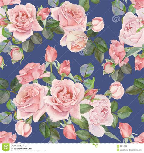 watercolor roses pattern floral seamless pattern with watercolor pink roses on the