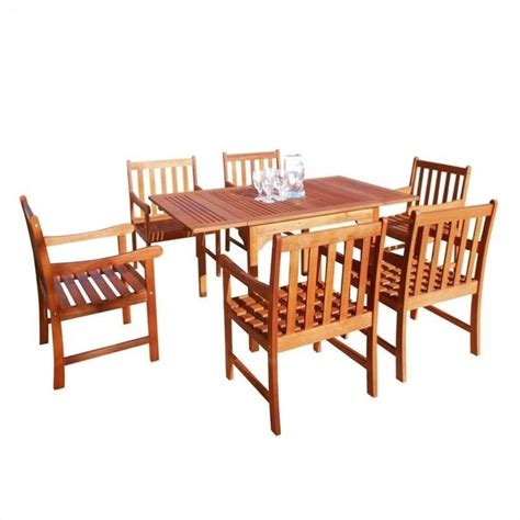 Wood Patio Dining Set 7 Wood Patio Dining Set V1561set6
