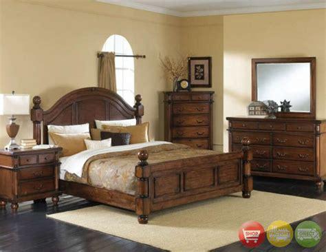 augusta  piece traditional queen walnut bedroom furniture set   night stands ebay