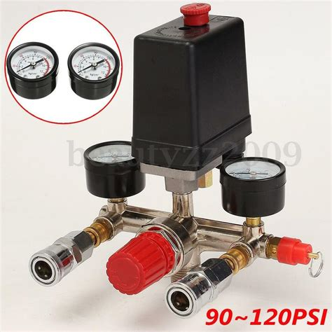 air compressor pressure switch valve manifold regulator w gauges relief ebay