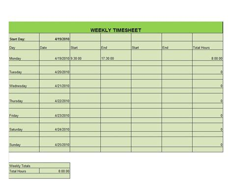 template link 41 free timesheet time card templates free template
