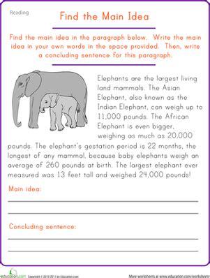 find the main idea elephant worksheet education com