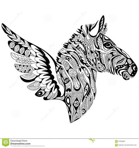 doodle line drawings zentangle stylized zebra with wings stock vector image