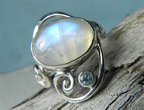 items similar to moonstone ring rainbow moonstone ring