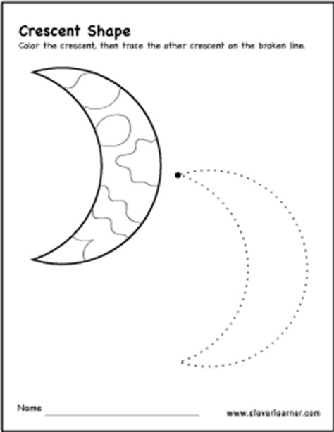 Crescent Shape Worksheets For Preschoolers by Preschool Shape Crescent Worksheet Preschool Best Free Printable Worksheets