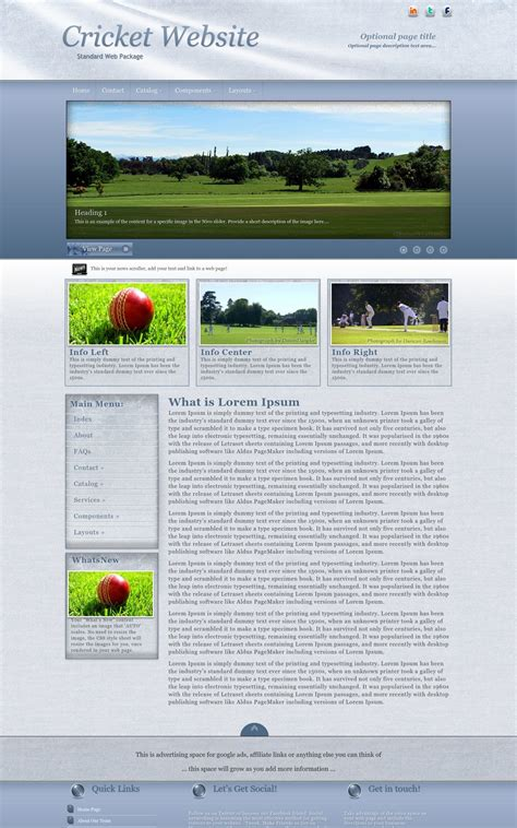 Accent Cricket Blue White Cricket Web Template Cricket Website Templates Free