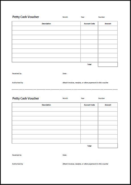 petty cash voucher template double entry bookkeeping