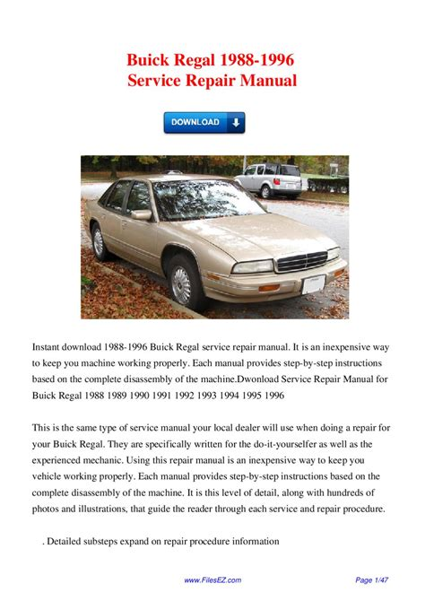 service repair manual free download 2000 buick regal user handbook buick regal 1988 1996 service repair manual by david wong issuu