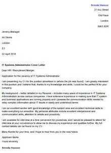 Cover Letter For System Administrator by It Systems Administrator Cover Letter Exle Icover Org Uk