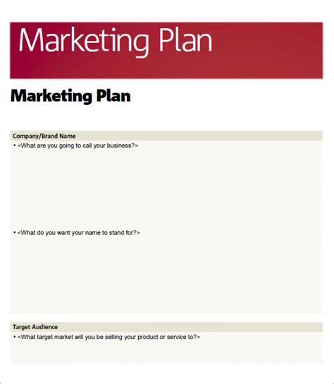marketing plan outline template free sle marketing plan template 9 free documents in word