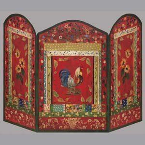 stupell industries rooster decorative fireplace screen
