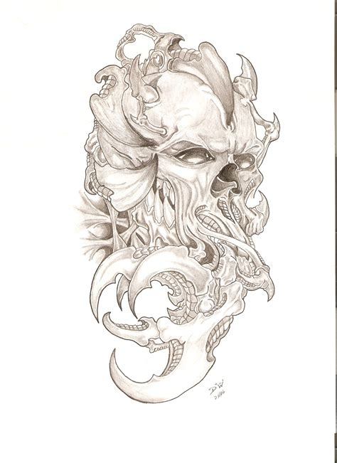 biomechanical skull tattoo design bio skull by paingvr on deviantart