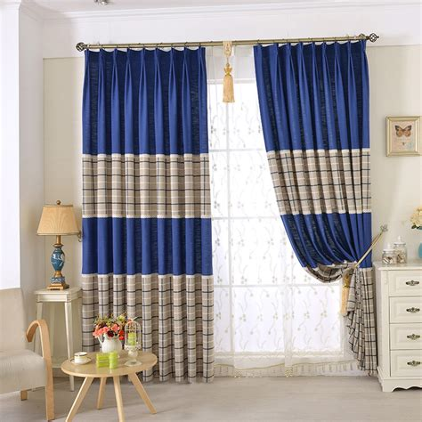 chic blue beige cotton linen plaid curtains for boys bedroom